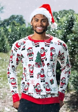 Adult Repeating Santa Pattern Unisex Ugly Christmas Sweater