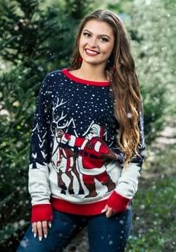 Adult Santa & Reindeer Ugly Christmas Sweater Alt 2