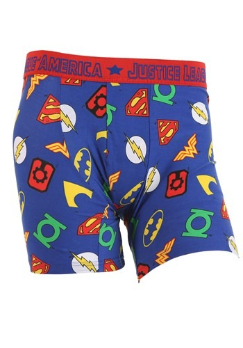 Mens Justice League Symbols Boxer Briefs