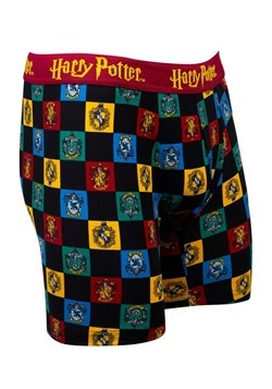 Mens Hogwarts Checkered Crest Print Boxer Briefs Alt 1
