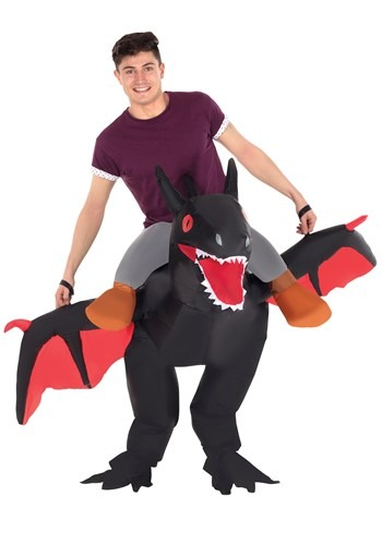 The Adult Inflatable Black Ride on Dragon Costume