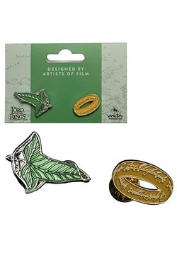 Lord of the Rings Elven Leaf and One Ring Pin Set