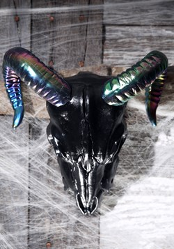 Oil Slick Black Ram Skull 11""