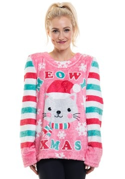 Ugly Cat Meowy Xmas Plush Fleece Pullover