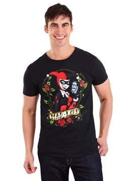 Animated Harley Quinn Mad Love Tattoo Black T-Shir