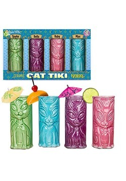 Cat Tiki Mug Set of 4