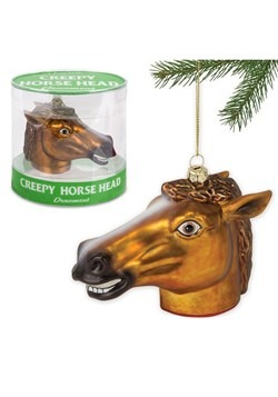Creepy Horse Head Glass Ornament