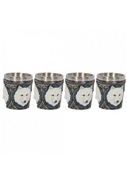 Molded Resin Set of 4 Ghost Wolf Shot Glasses