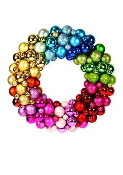 Rainbow Colors Christmas Ball Wreath