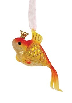 Crowned Goldfish Glass Christmas Ornament