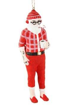 Hipster Santa Resin Ornament
