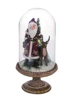 Light Up Resin Father Christmas Glass Cloche Decoration