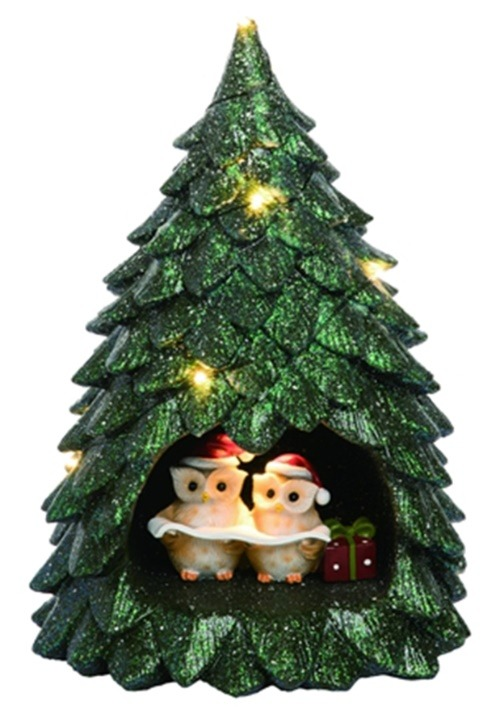 Resin Light Up Owl Tree Christmas Decor