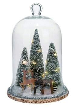 Glass Light Up Reindeer w/ Tree Cloche Christmas Decor
