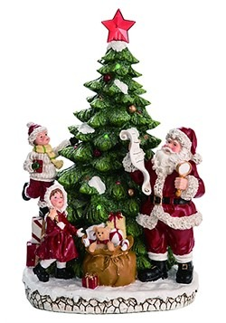 "Resin Light up Christmas Tree w/ Santa Décor 16.75""H"