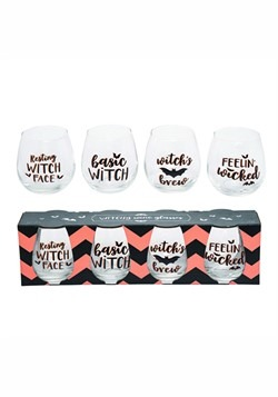 Glass Witchy Wine 16oz Glasses Set of 4