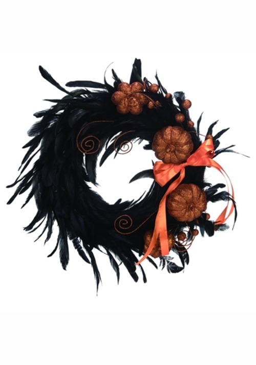 "17"" Black Feather Glitter Pumpkin Wreath"
