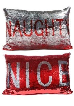 Reversible Naughty & Nice Sequin Pillow