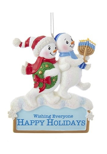 "4"" Resin Hanukkah Snowman Ornament"
