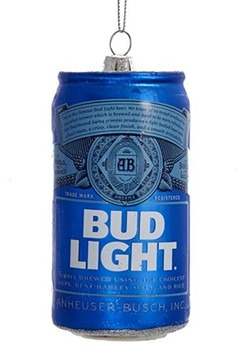 "4.75"" Bud Light Beer Can Glass Ornament"