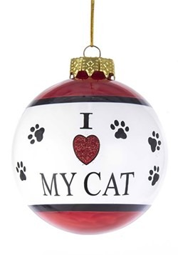 I Love My Cat Glass Ball Ornament