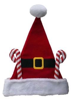 Fleece Santa Hat w/ Candy Canes