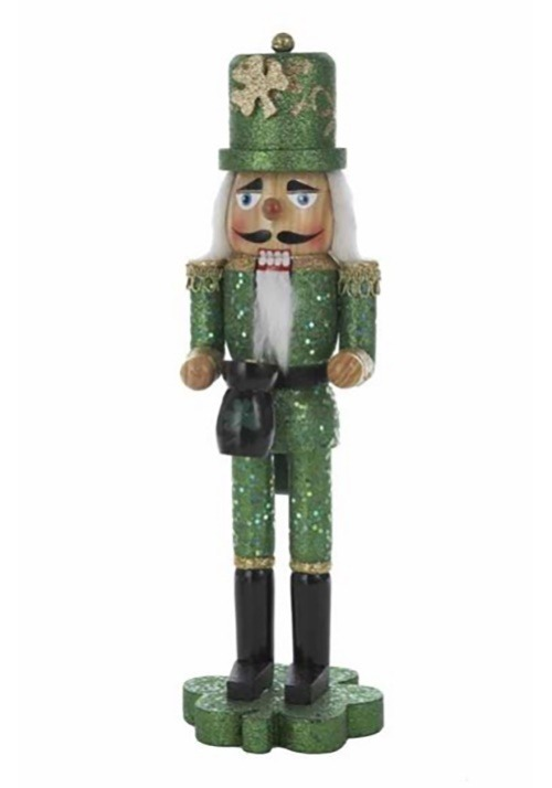 "15"" Irish Wooden Nutcracker on Shamrock"
