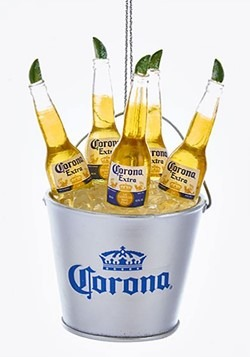 Corona Bottles in Ice Bucket Resin Ornament