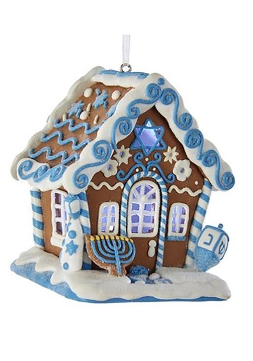 Hanukkah Gingerbread LED House Ornament