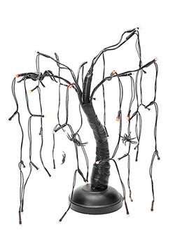Halloween Spider Black Branch Purple LED Tree