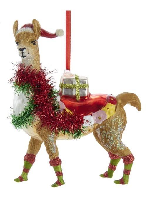 "5"" Glass Christmas Llama Ornament"