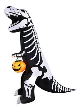 Inflatable Skeleton T-Rex with Pumpkin Decoration