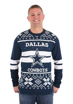 DALLAS COWBOYS 2 STRIPE BIG LOGO LIGHT UP SWEATER