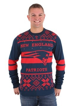 NEW ENGLAND PATRIOTS 2 STRIPE BIG LOGO LIGHT UP SWEATER