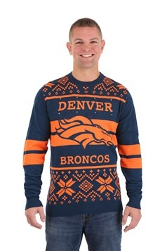 NFL Denver Broncos 2 Stripe Big Logo Light Up Sweater 1