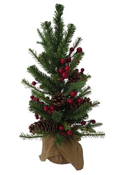 "24"" Red Berries & Pinecones Tree w/ Burlap Base"