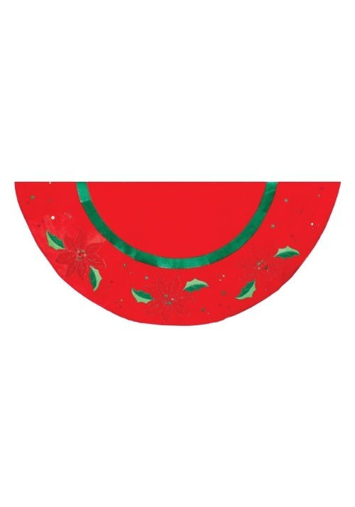 """48"""" Red w/ Holly Velvet Applique Tree Skirt w/ Embroidery"""