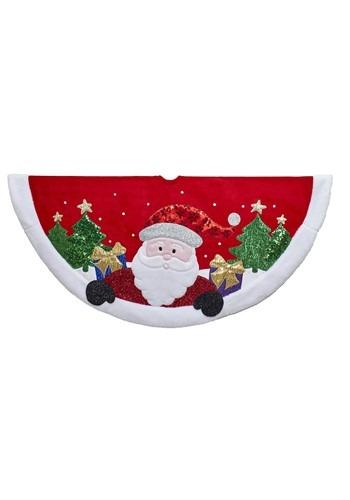 """48"""" Red & White Velvet Santa Treeskirt"""