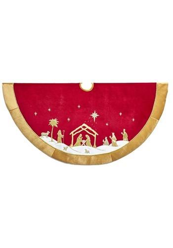 """48"""" Red & Gold Velvet Nativity Treeskirt"""