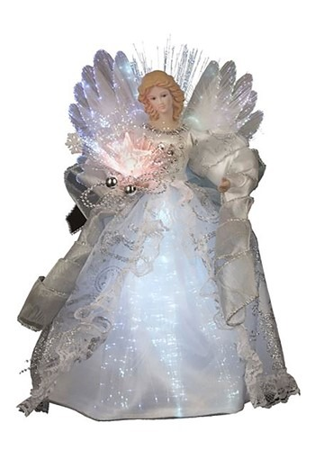 """12"""" White Lighted Angel Tree Topper"""