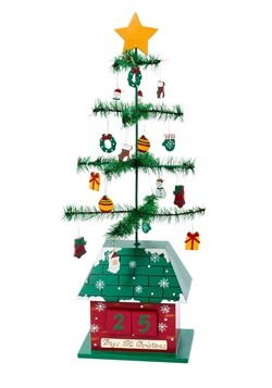 "17"" Christmas Tree Calendar w/ Ornaments"