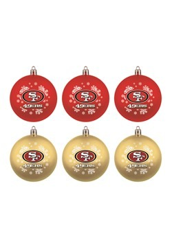 San Francisco 49ers Shatterproof Ornament 6 Pack S