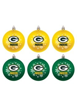 Green Bay Packers Shatterproof Ornament 6 Pack Set