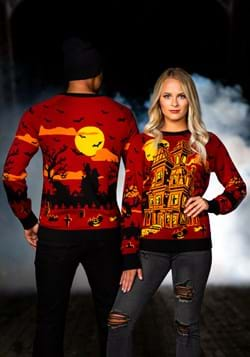 Haunted House Halloween Sweater for Adults