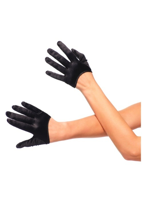 Cropped Satin Black Gloves