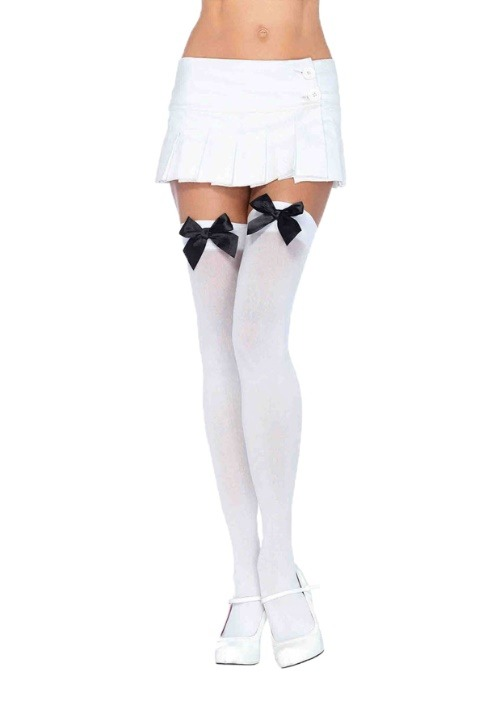 Womens White Stockings with Black Bows