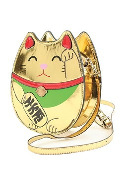 Gold Lucky Cat Handbag Accessory