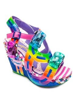 Irregular Choice Spaghetti Junction Rainbow Wedge