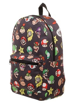 Super Mario Brothers Character Heads Pattern Backpack Alt 1
