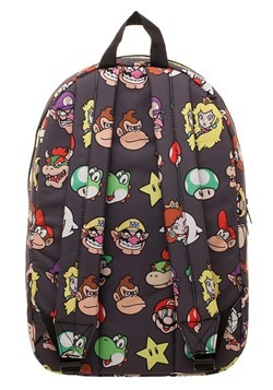Super Mario Brothers Character Heads Pattern Backpack Alt 2